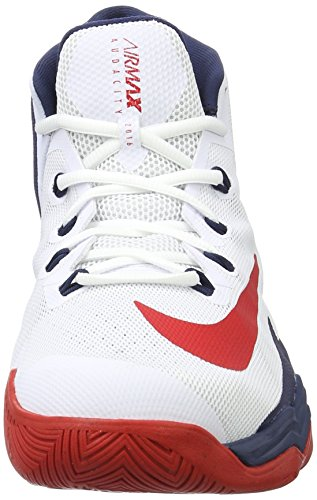Nike Air Max Audacity 2016, Scarpe da Basket Uomo Blanco (White / University Red-Midnight Navy)