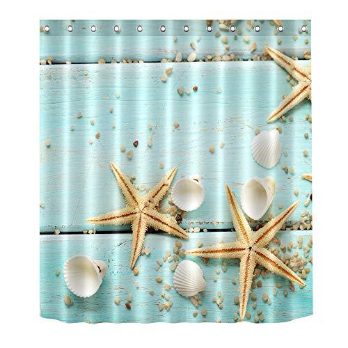 (Beach Seashell Seestern Baum 180x 180cm Vorhang für die Dusche Wasserfeste Futter antibakteriell Bad Vorhang Mehltau resistent Polyester Badezimmer Waschraum WC WC-Decor Schatten Dusche mit 12Haken Seashell Starfish)