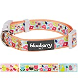 Blueberry Pet Easter Spring Flowers and Charcoal Stripes Designer Dog Collar in Apricot, Medium, Neck 37cm-50cm, Adjustable Collars for Dogs