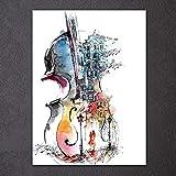 baodanla Pittura a Getto d'inchiostro Senza Cornice Decorazione della casa Pittura Chitarra Singola f Nucleo di Pittura 50 cm x 70 cm