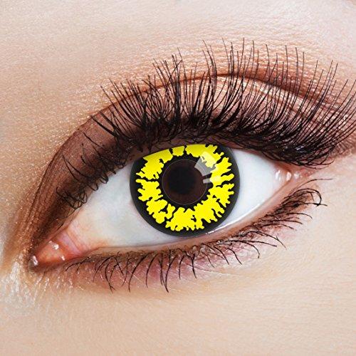 aricona Kontaktlinsen - farbige Kontaktlinsen ohne Stärke - deckende gelb-schwarze Kontaktlinsen für dein Halloween Kostüm