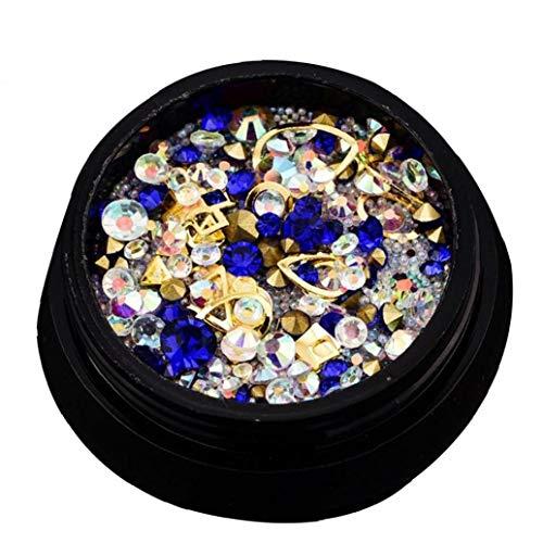 ne ??Set Für Nail Art Dekorationen Nagel-Perlen Glitter Kristalle Nail Art Dekorationen Kristalle Charm Diamant Gems Aufkleber (Royal Blue) ()