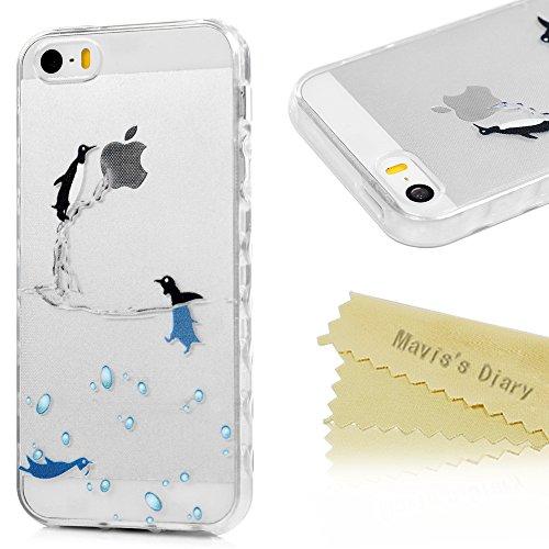 Coque iPhone 5 / iPhone 5S / iPhone SE Mavis's Diary TPU Silicone Souple Pingouin Dessin Housse de Protection Étui Téléphone Portable Phone Case Cover+Chiffon Pingouin