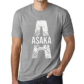 Herren Tee Männer Vintage T-Shirt Letter A Countries and Cities Asaka Grau Meliert
