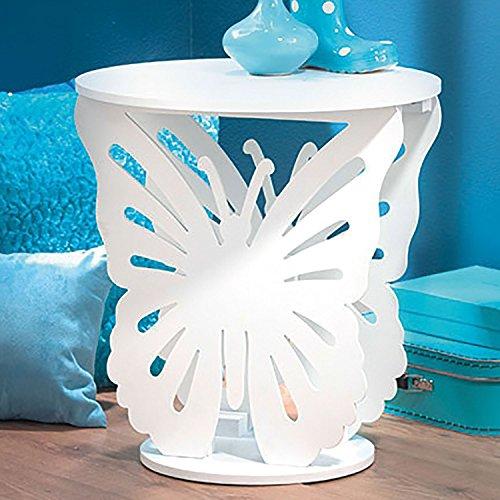 Top Home Solutions® Kinder Holz Schmetterling Runde Seite End Lampe Tisch Kids Mädchen Schlafzimmer weiß