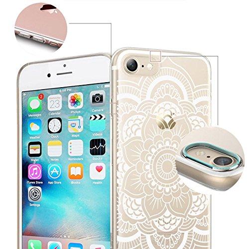 finoo | iPhone 6 / 6S Handy-Tasche Schutzhülle | ultra leichte transparente Handyhülle aus flexiblen Silikon | stylisches TPU Cover Case mit Motiv | King one schwarz Blume Henna 1