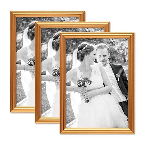 Photolini set da 3 cornici per foto oro barocco 21x30 cm din a4 cornice per foto con lastra in vetro/cornice in plastica