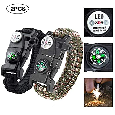 Quner 2pcs Multifunktional Survival Armband,Paracord Armband,Notfall-Armband mit Feuerstein,SOS LED-Licht, Kompass, Trillerpfeife, Mini-Messer, Ein Thermometer