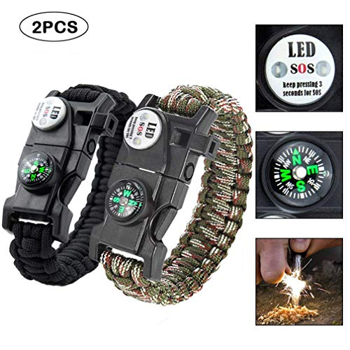 Quner 2pcs Multifunktional Survival Armband,Paracord Armband,Notfall-Armband mit Feuerstein,SOS LED-Licht, Kompass, Trillerpfeife, Mini-Messer, Ein Thermometer