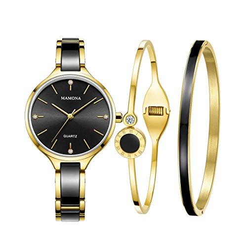MAMONA Damen Uhr Analog Quarz mit Edelstahl Armband Keramik Uhrenset 30 Meter Wasserdicht 3877LT (Schwarz) (Anpassbare Uhren-box)