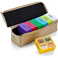 Große Wochen-Pillenbox in Gold Ledertasche - 7 Tage Woche Pillenplaner Organizer & Medikamenten-Erinnerung mit... preisvergleich bei billige-tabletten.eu