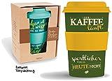 Bamboo Becher to go '... sportlicher wird es heute nicht' 400 ml für Kaffee/Tee: aus Bambus mit Silikondeckel...