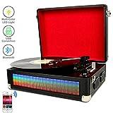 DIGITNOW! Bluetooth Multi-Color-LED Plattenspieler Schallplattenspieler für Vinly mit Stereo-Lautsprecher, Riemenantrieb 3-Gang-Plattenspieler mit Vinyl zu MP3-Aufnahme-Funktion, Aux-Eingang und RCA