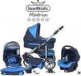 Chilly Kids Matrix II Kinderwagen Winter-Set (Winterfußsack, Autositz, Regenschutz, Moskitonetz, Schwenkräder) 26 Marine & Türkis