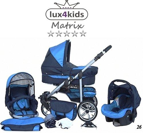 Chilly Kids Matrix II Kinderwagen Sommer-Set (Sonnenschirm, Autositz, Regenschutz, Moskitonetz, Schwenkräder) 26 Marine & Türkis