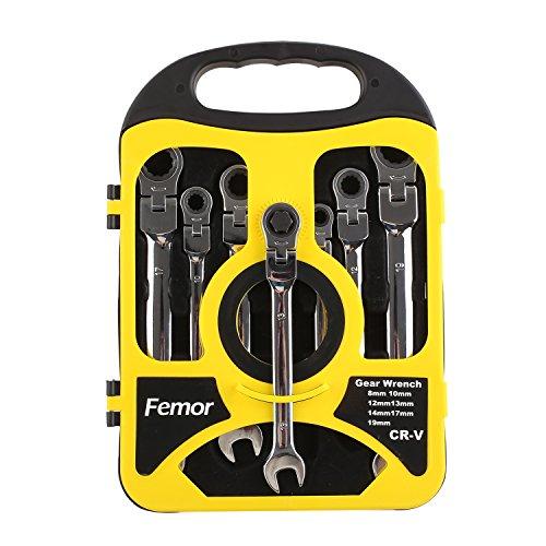 Femor Ratschenringschlüssel Set Ratschenschlüssel, Knarrenschlüssel, Maulschlüssel, Ringschlüssel, Ringmaulschlüssel VERBESSERT! (Modell 4)