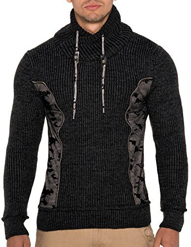 LEIF nELSON lN5090 pull-over en maille pour homme Gris - Anthracite