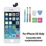 Rarlon Display Compatible Für iPhone 5 Weiß LCD Bildschirm Ersatz Für Touchscreen Glas Reparaturset Ersatz Einschließlich Kostenlose Werkzeug(5G-Weiß)