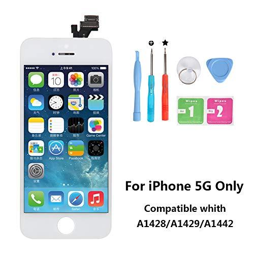 Iphone 5 Touchscreen (Rarlon Display Compatible Für iPhone 5 Weiß LCD Bildschirm Ersatz Für Touchscreen Glas Reparaturset Ersatz Einschließlich Kostenlose Werkzeug(5G-Weiß))