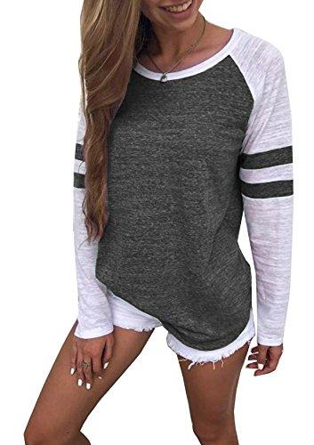 Generic Hiistandd Damen Langarmshirt Farbblock Langarm T-Shirt Casual Rundhals Tunika Tops (Medium, Dunkelgrau)