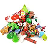 20 x CHRISTMAS DOG TOY GIFT SET WITH FESTIVE TOYS SNOW MAN, DEER, SQUEAKY PLUSH DOG XMAS GIFT