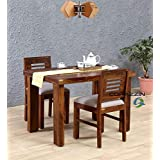 Corazzin Wood Sheesham Wood Dining Table 2 Seater | Wooden Dining Room Furniture | 2 Chairs with Cushion | Teak Finish