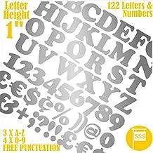 """Buchstaben und Zahlen Packung von 122 Stück X 1"""" (2,5 cm) Selbstklebend = Foont Cooper Aufkleber, kostenlose Interpunktion, waschsicher, großes Beschriftungsschild-Schreiben 25 mm silber"""