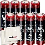 8x Kraftmax LS 14500 - AA / Mignon - Lithium 3,6V Batterie LS14500 / Li-SOCl2 Hochleistungs- Batterien mit extrem hoher Energiedichte - in Batteriebox