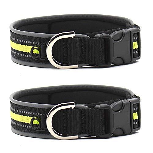 Reflektierendes Hundehalsband, bequemes Hundehalsband, Haustier Hund Nylon Halsbänder Verstellbar Leine Halsbänder(L,Grün) -