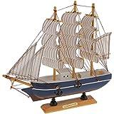 Juguete a Escala Decoración Artesanal Velero Mediterráneo Verdadero Barco de Madera - 23 x 22 cm