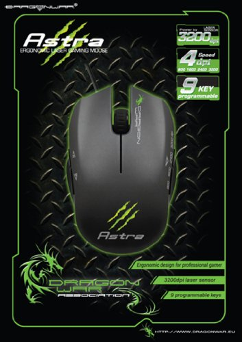 Dragon ELE-G2 Astra Gaming Laser Mouse Scroll-Rad, PC-Maus, PC/Mac, 2-Wege, Gaming Produkt - Laser Gaming Mouse Scroll