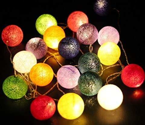 Multi Mixed Colours Cotton Ball Fairy Light String 220v 3 Meters Long