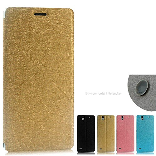 Heartly Premium Luxury PU Leather Flip Stand Back Case Cover For Sony Xperia C4 E5303 E5306 E5353 – Hot Gold