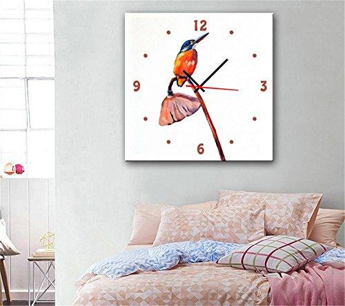 xiuxiandianju-creative-savage-lotus-et-oiseaux-avec-horloge-peinture-decorative-giclee-toiles-framel