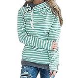 Xmiral Damen Hoodies Herbst und Winter Striped Panel Hoodie Pullover Tasche Bluse (M,Grün)