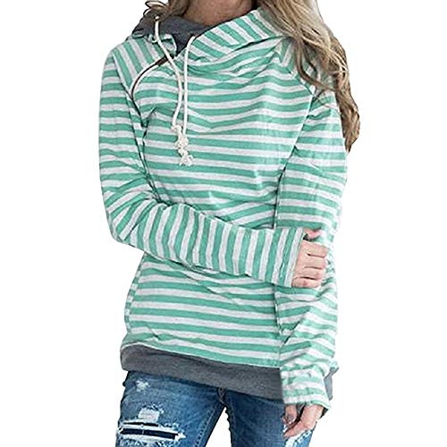 Wwricotta Women Autumn and Winter Striped Panel Hoodie Sweater Pocket Blouse Athletic Striped Sweatshirt