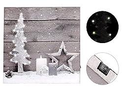 Weihnachtsbild mit 10 LED Holzrahmen 30cm x 30 cm Weihnachten Bild von Alsino, Variante wählen:810267 Tannenbaum Stern