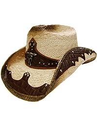 Modestone Unisex Straw Sombrero Vaquero Bull Head Brown & Beige