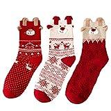 Valleycomfy 3 Paar Frauen Socken Baumwollsocken Herbst Winter Weihnachtsgeschenke (Elch)