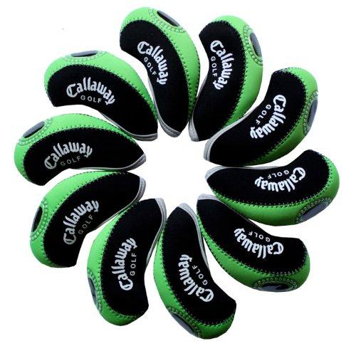 Callaway golf Schlägerkopfhüllen Golf Eisen deckt Eisenhauben 10pcs/set MT/C07 schwarz/grün (Golfschläger Set Callaway)