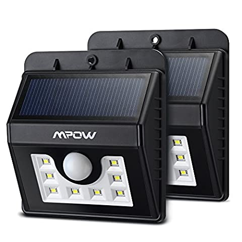 (8 LED)Solar Lights, Mpow 3-in-1 Wireless Weatherproof Security Light Motion Sensor Lamp with 3 Intelligent Modes for Garden, Outdoor, Fence, Patio, Deck, Yard, Home, Driveway, Stairs, Outside Wall etc.(2