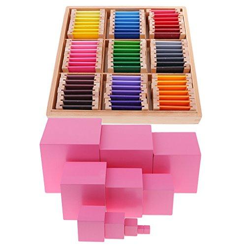 Puzzle Farbkarte (MagiDeal Montessori Sensor Material: 63 Faben-Box ( 9 Farben in 7 Stufen ) + Rosa Turm, Kinder Farben-Lernen Lernspielzeug)