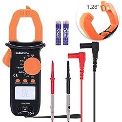 Digital Clamp-On au mètre, Ruoshui 3,2cm Ouverture de la mâchoire Autorange Multimeters Max Gamme AC 600Amp AC DC 600V 1000Micro Farad 20Mega Ohm avec 2piles AAA et Mène les tests