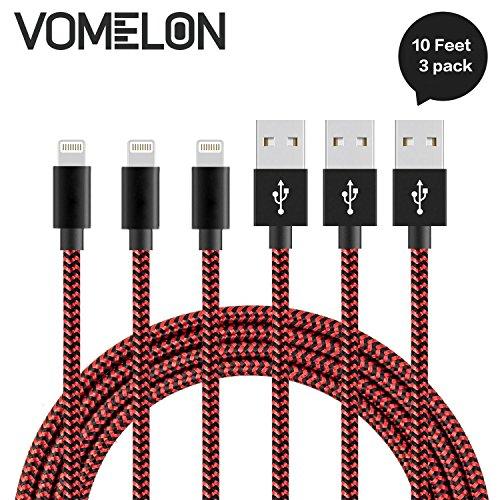 Preisvergleich Produktbild iPhone Ladekabel Lightning Kabel, [10FT-3Pack] Verwicklung frei Nylon geflochten Kabel IPhone USB Ladekabel Kompatibel mit iPhone 7/7 Plus/6S/6 Plus, SE/5S/5, iPad, iPod Nano 7-[Rot + schwarz]