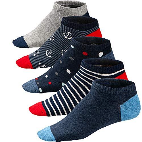 Ueither calze da uomo coloratissimi in cotone stilisti sportive sneaker calzini corti fantasia dal design comodo (39-46, colore 3)