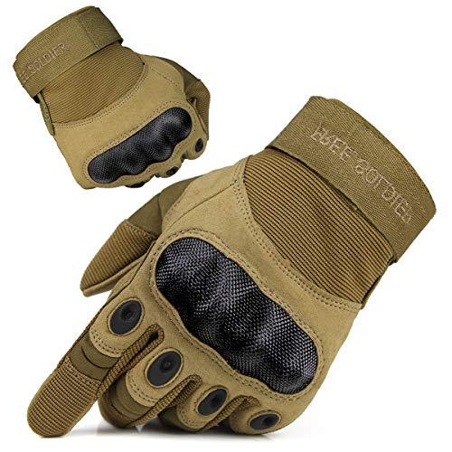 FREE SOLDIER Outdoor Handschuhe Herren Motorradhandschuhe Taktische Trainings Militär Kletter Handschuhe Vollfinger Gloves zum Wander Klettern Motorrad Fahrrad Radsport Arbeiten (L, Sand-Farbe)