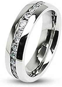 Paula & Fritz anello in acciaio inox chirurgico 316L acciaio 6mm larghezza nastro occupato con zirconi, misure 47(15) 66(21) R h1570–6