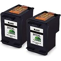 JARBO Remanufacturado HP 301 XL Cartuchos de tinta (2 Negro) Compatiable con HP Deskjet 1000 1010 1050 1050A 1510 1512 2000 2050 2054A 2510 2514 2540 2542 3000 3050 3054a,HP Envy 4500 4502 4504 5539, HP Officejet 2620 2622 2624 4634 4636