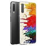 Yoedge Samsung Galaxy A7 2018 Hülle, [Slim Stoßfest] TPU Silikon Schutzhülle Dünn Transparent mit Muster Motiv Handyhülle Bumper Case Cover für Samsung Galaxy A7 2018 Smartphone (Bunt)