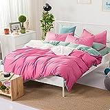 HlA Juego de cama de 4 piezas Minimalista de 4 piezas de algodón puro algodón grueso de color sólido color liso cama Examen de sábanas de lino , Verde Rouge ,2,0 M (6.6 ft.)